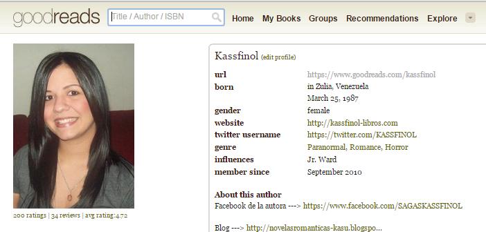 Comentario en goodreads por kassfinol